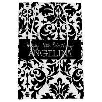 Happy Birthday with Trendy Black and White Damask Medium Gift Bag
