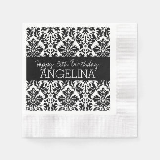 Happy Birthday with Trendy Black and White Damask Paper Napkin