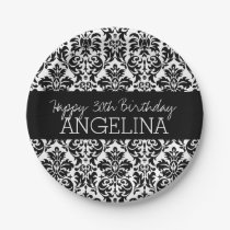 Happy Birthday with Trendy Black and White Damask Paper Plate