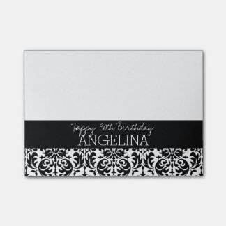Happy Birthday with Trendy Black and White Damask Post-it® Notes