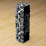 """Happy Birthday with Trendy Black and White Damask Wine Box<br><div class=""""desc"""">Personalize this collection of birthday party favors and invites with damasks and fun fonts. A trendy pattern with an area to personalize text for any birthdays - from 1st to 40th or 50th. Customize with the name of the woman or girl along with the appropriate year.</div>"""