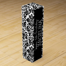 Happy Birthday with Trendy Black and White Damask Wine Box