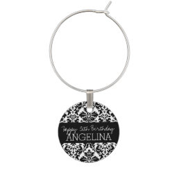 Happy Birthday with Trendy Black and White Damask Wine Glass Charm