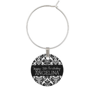 Happy Birthday with Trendy Black and White Damask Wine Glass Charms