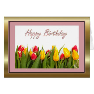 Happy Birthday with tulips flower Card