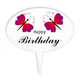 Happy Birthday with two lovely butterflies Cake Topper