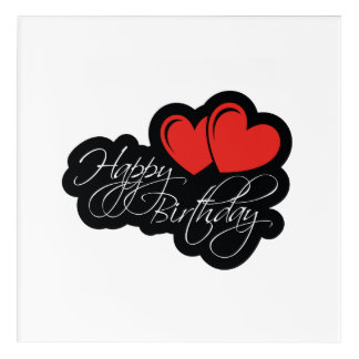 Happy Birthday with two red hearts Acrylic Print