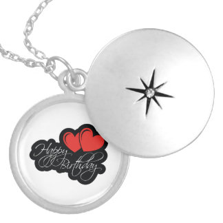 Happy Birthday with two red hearts Locket Necklace