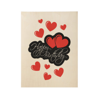 Happy Birthday with two red hearts Wood Poster