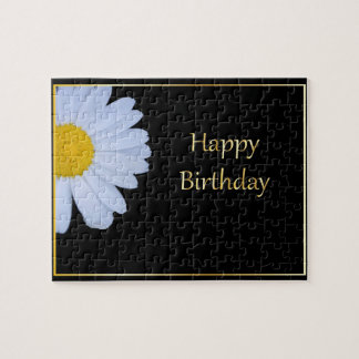 Happy Birthday with White Flower and Black Bkgrd Jigsaw Puzzle