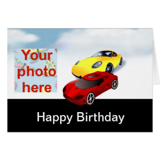 Happy birthday with yellow and red racing cars greeting card