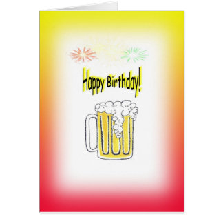 Happy Birthday Withe Beer Mug & Fireworks Card