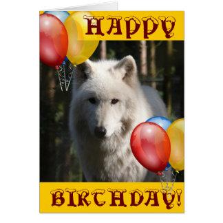 HAPPY BIRTHDAY wolf animal owl Greeting Card