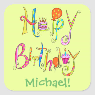 Happy Birthday Word Art Green Name Personalized Square Sticker
