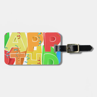 Happy Birthday Word Text Sign Luggage Tag