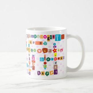 Happy birthday (wordart) coffee mug