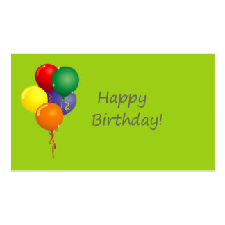 Happy Birthday Words with Colored Balloons Business Card