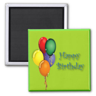 Happy Birthday Words with Colored Balloons 2 Inch Square Magnet