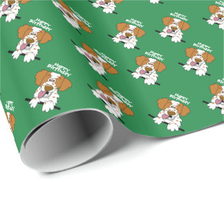 Happy Birthday Wrapping Paper Cartoon Brittany Dog
