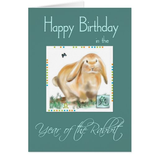 Happy Birthday-Year of Rabbit/Hare Greeting Card