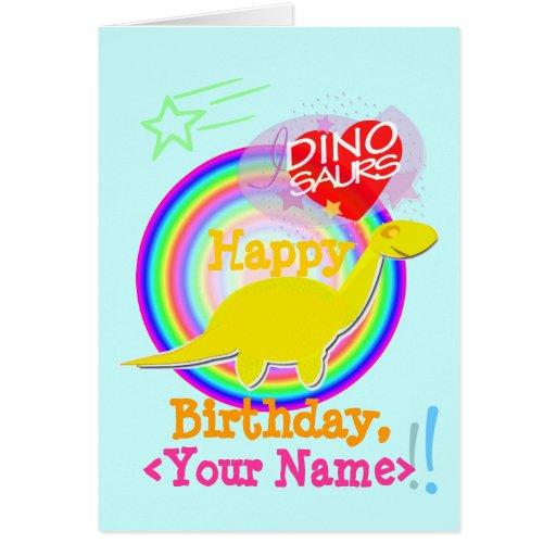 Happy Birthday Yellow Diplodocus Dino Name Card