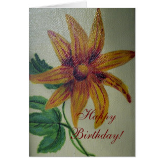 Happy Birthday Yellow Flower Painting Card