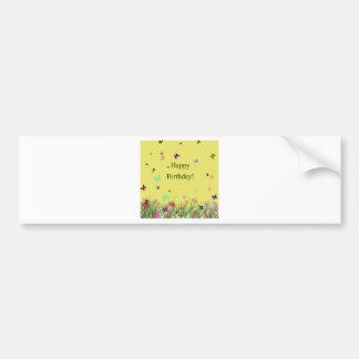 Happy Birthday yellow flowers butterflies Bumper Sticker