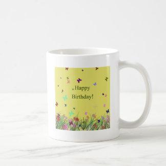 Happy Birthday yellow flowers butterflies Coffee Mug
