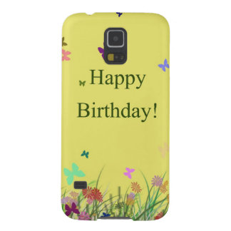 Happy Birthday yellow flowers butterflies Galaxy S5 Case