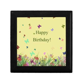 Happy Birthday yellow flowers butterflies Keepsake Box