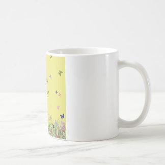 Happy Birthday yellow flowers butterflies Mug