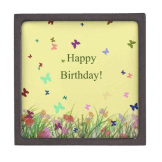 Happy Birthday yellow flowers butterflies Premium Keepsake Boxes