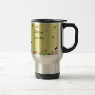 Happy Birthday yellow flowers butterflies Travel Mug