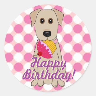 Happy Birthday Yellow Labrador Stickers