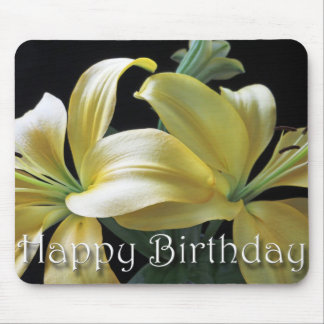Happy Birthday Yellow Lily Flower Mouse Pad