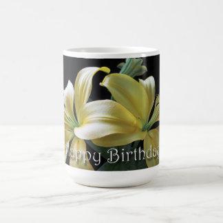 Happy Birthday Yellow Lily Flower Coffee Mug