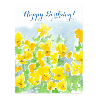 Happy Birthday Yellow Pansy Flowers Johnny Jump Up Postcard