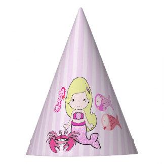 Happy Birthday Yellow & Pink Mermaid Birthday Hat
