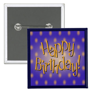 Happy Birthday Yellow Polka Dot Text Blue Bkgrd Pinback Button