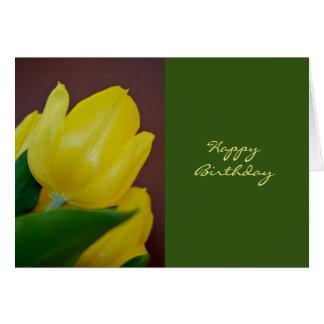 Happy Birthday Yellow Tulip Flower Card