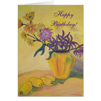 Happy Birthday Yellow Vase Flowers Greeting Card