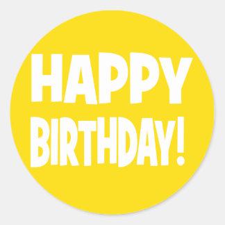 """""""HAPPY BIRTHDAY"""" Yellow/White Classic Round Sticker"""