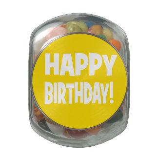 """""""HAPPY BIRTHDAY"""" Yellow/White Glass Candy Jars"""