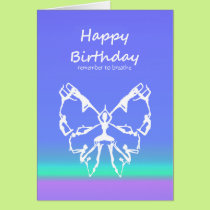 Happy Birthday Yoga Poses Butterfly  Breathe Card