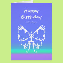 Happy Birthday Yoga Poses Butterfly Change Card