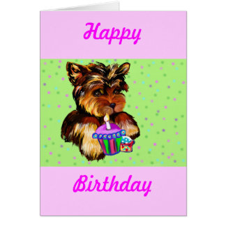 HAPPY BIRTHDAY YORKIE POO GREETING CARD