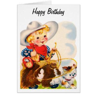 Happy Birthday - Young Cowboy Greeting Card