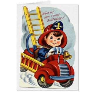 Happy Birthday - Young Fireman Card