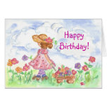 Happy Birthday Young Girl Summer Meadow Card