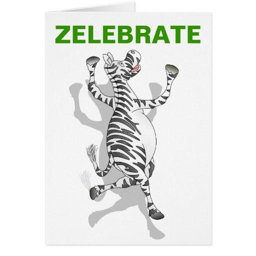 Happy Birthday Zebra Celebration Card
